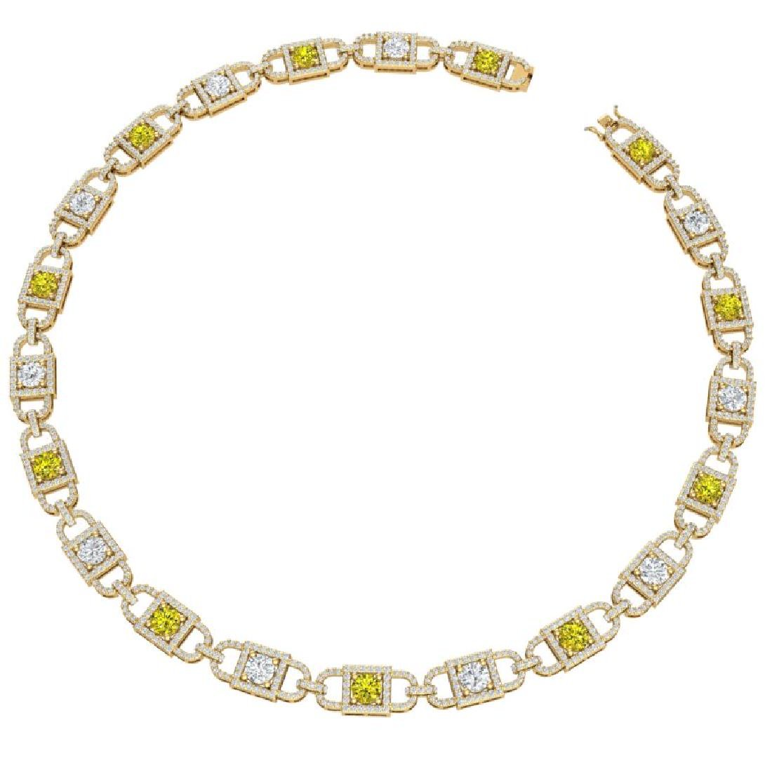 20 CTW SI/I Fancy Yellow And White Diamond Necklace 18K - 2
