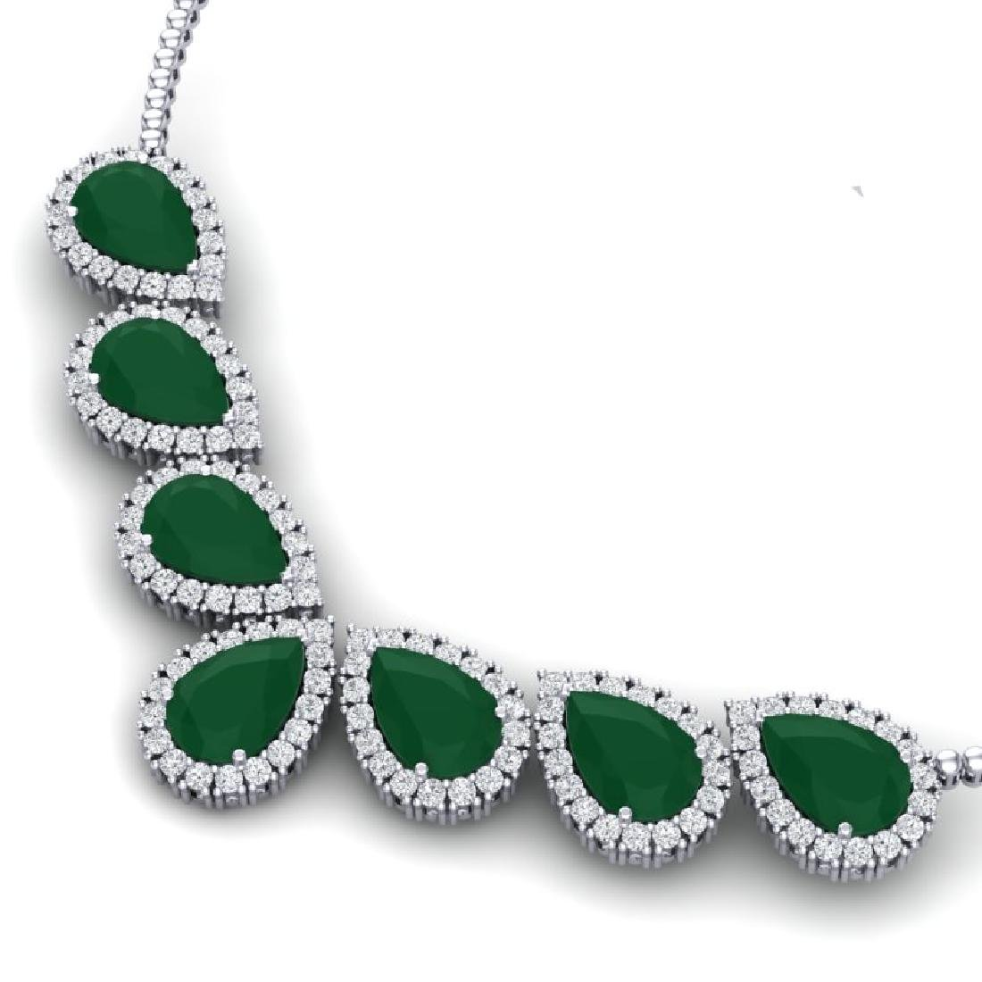 34.72 CTW Royalty Emerald & VS Diamond Necklace 18K - 2