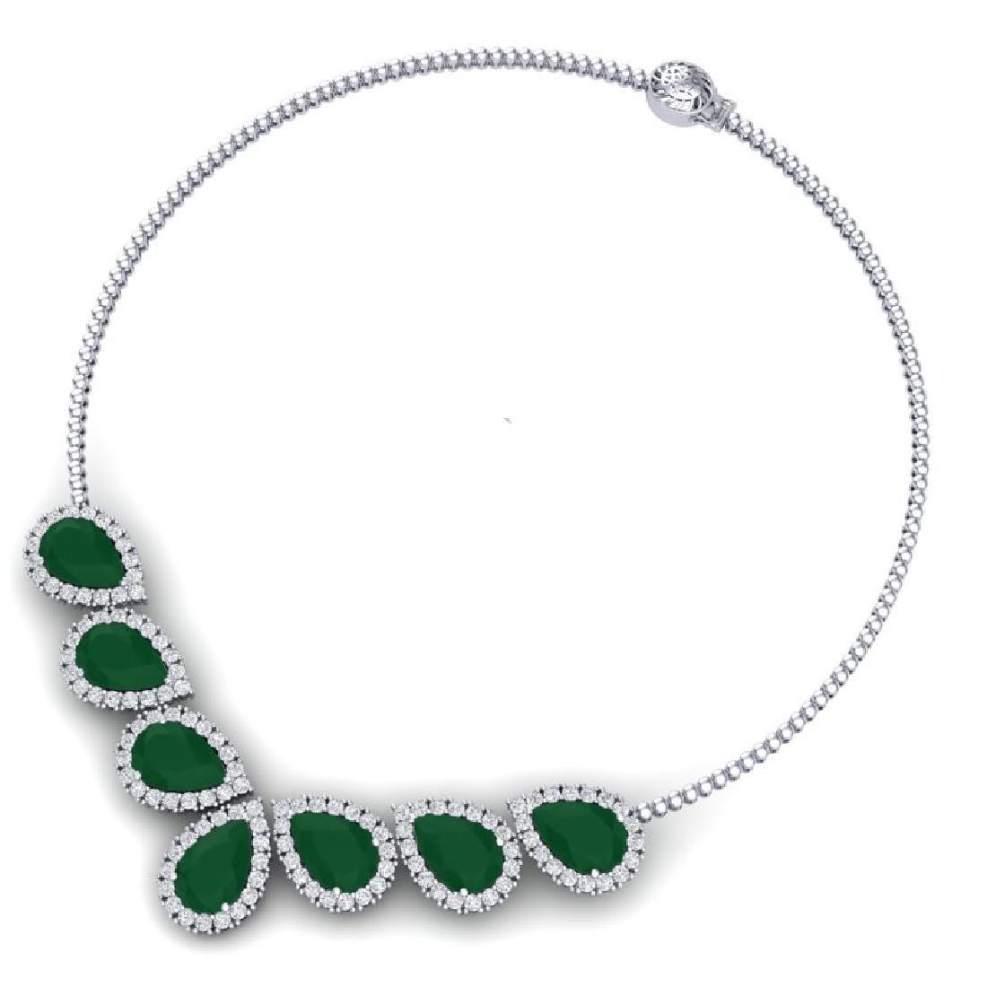 34.72 CTW Royalty Emerald & VS Diamond Necklace 18K - 3