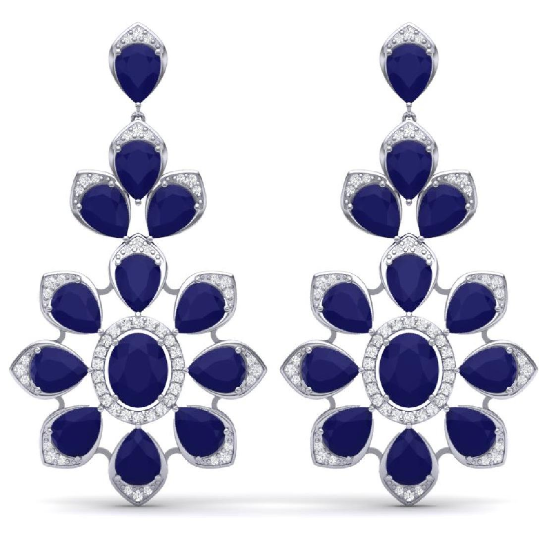 51.8 CTW Royalty Sapphire & VS Diamond Earrings 18K
