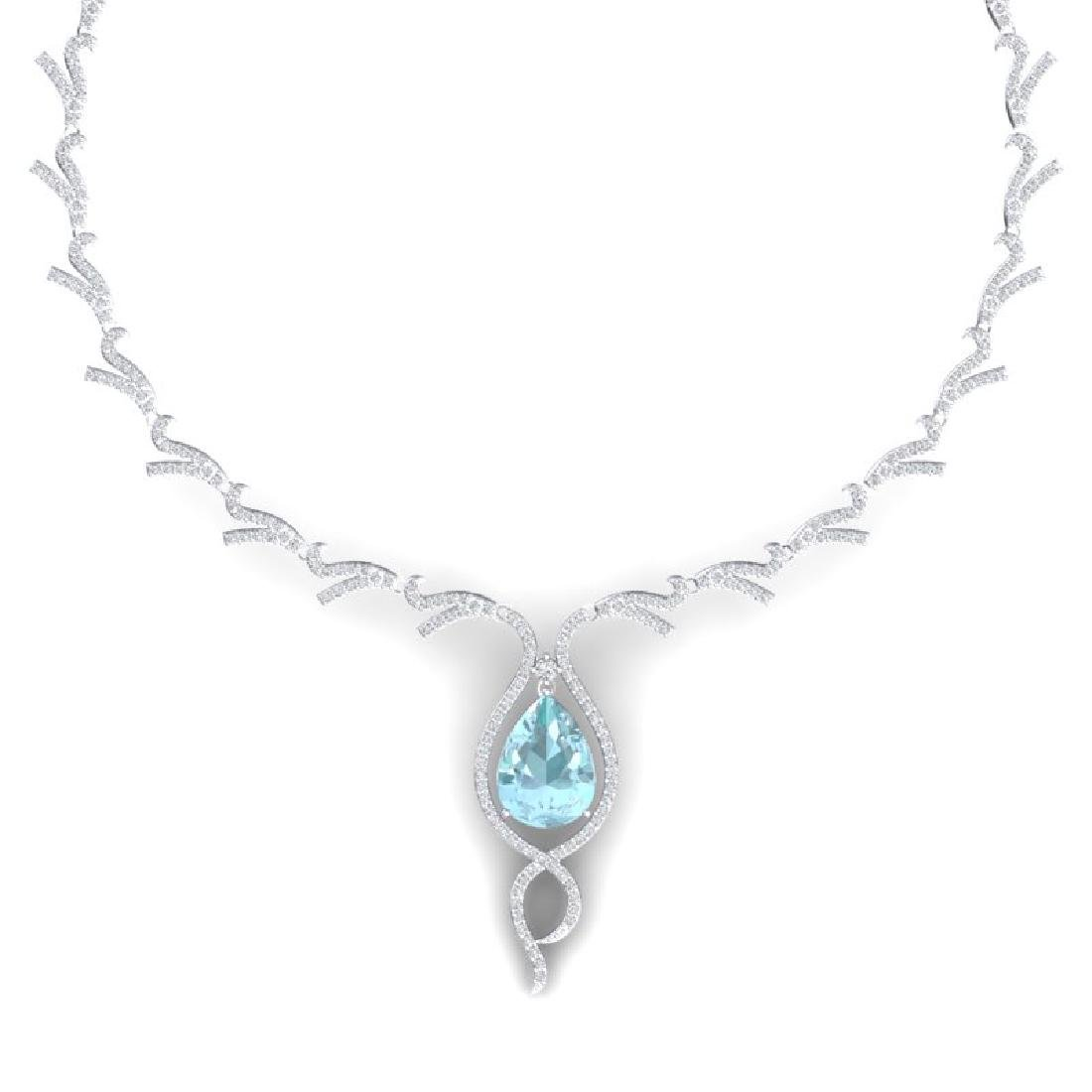 24.32 CTW Royalty Sky Topaz & VS Diamond Necklace 18K