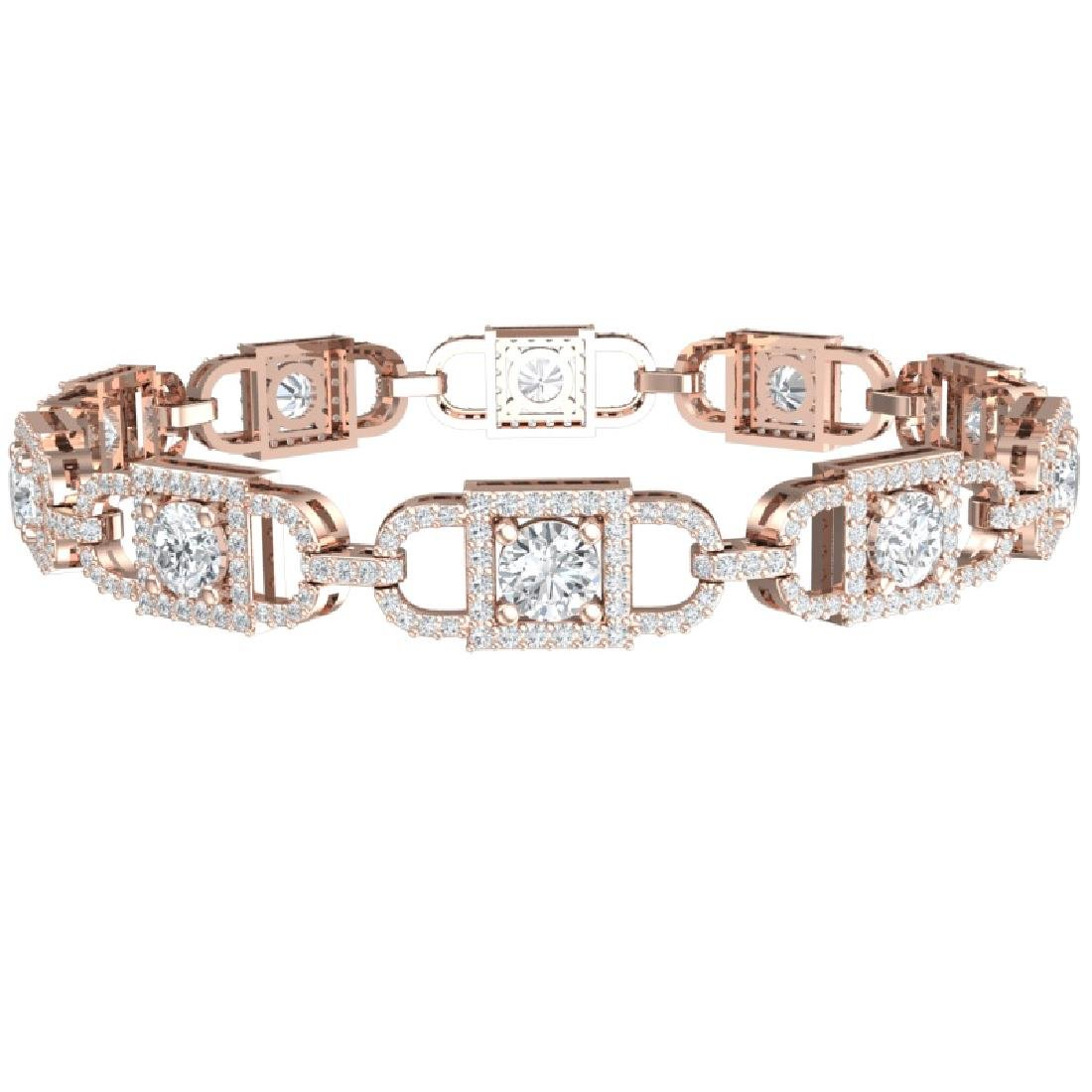8 CTW Certified SI/I Diamond Halo Bracelet 18K Rose - 3