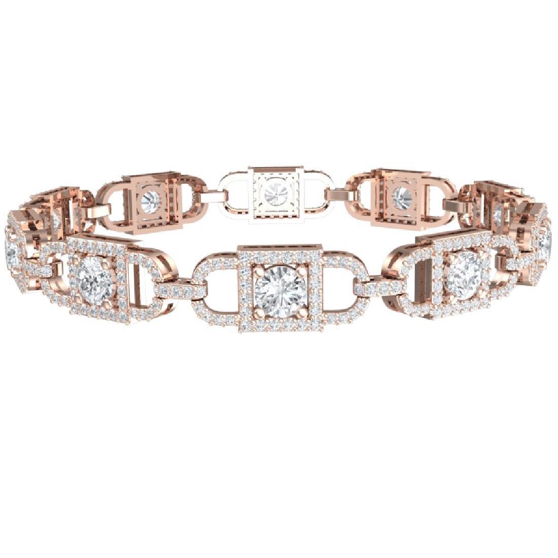 8 CTW Certified SI/I Diamond Halo Bracelet 18K Rose - 3