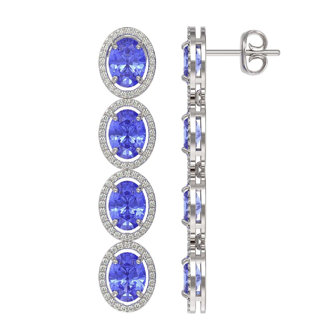 13.64 CTW Tanzanite & Diamond Halo Earrings 10K White - 2