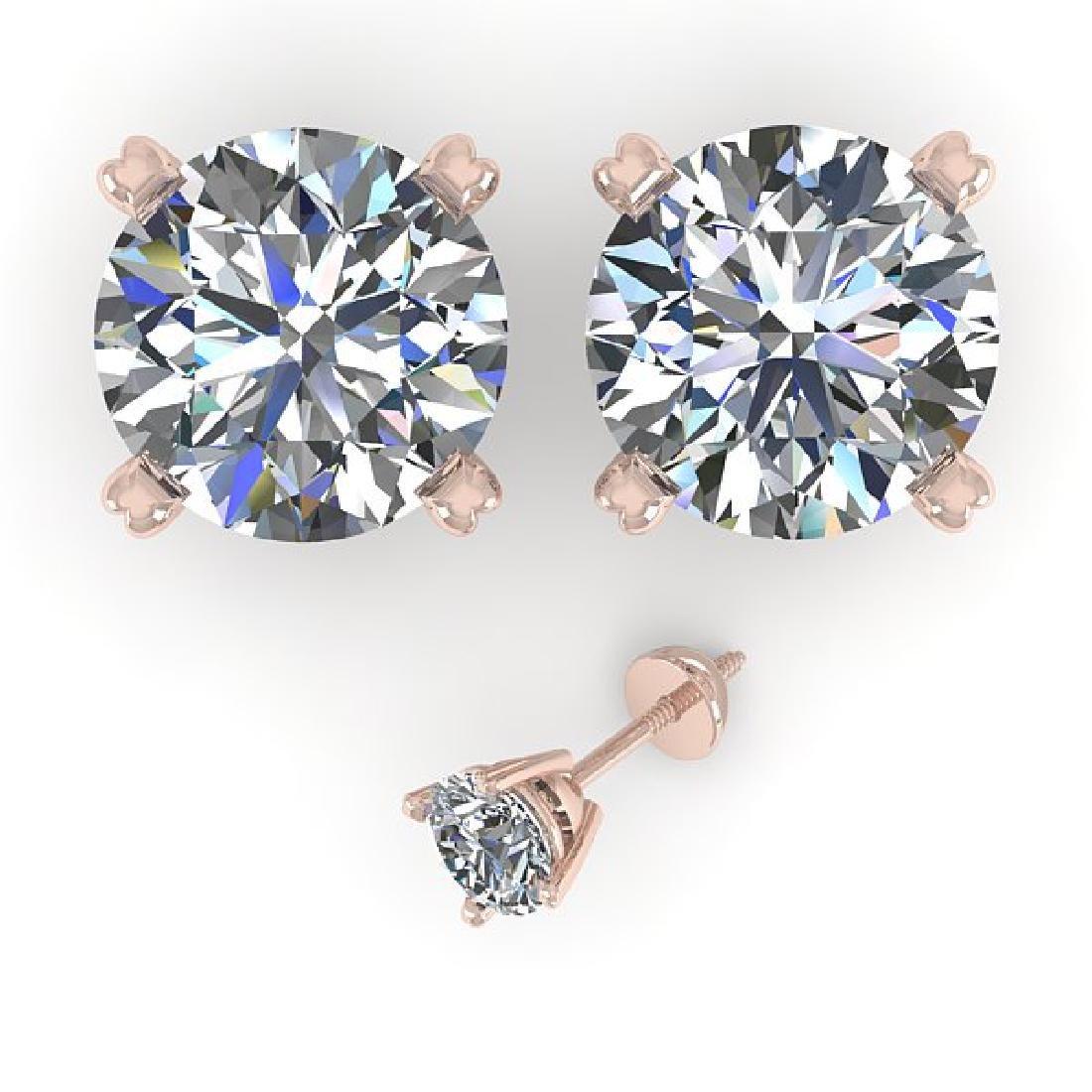 4 CTW Certified VS/SI Diamond Stud Earrings 14K Rose - 2