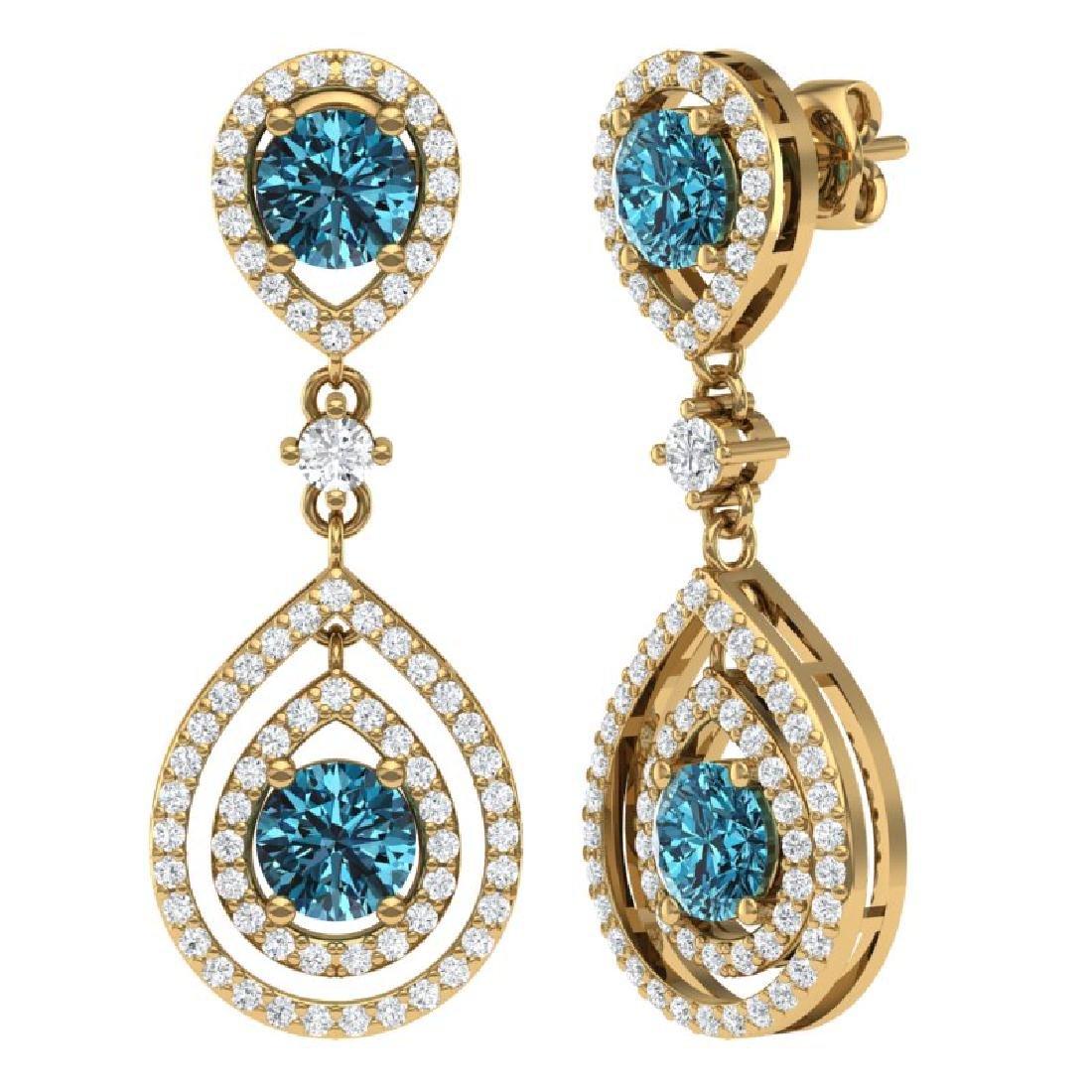 3.94 CTW Royalty Fancy Blue, SI Diamond Earrings 18K - 3