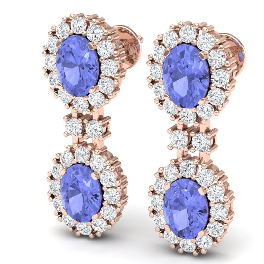 8.35 CTW Royalty Tanzanite & VS Diamond Earrings 18K - 2