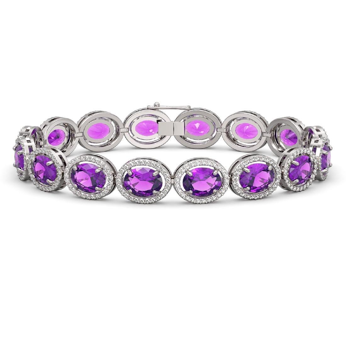 24.72 CTW Amethyst & Diamond Halo Bracelet 10K White