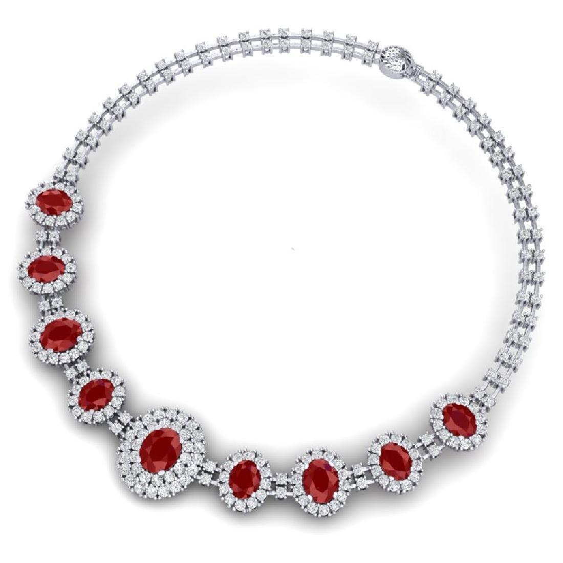 45.69 CTW Royalty Ruby & VS Diamond Necklace 18K White - 2