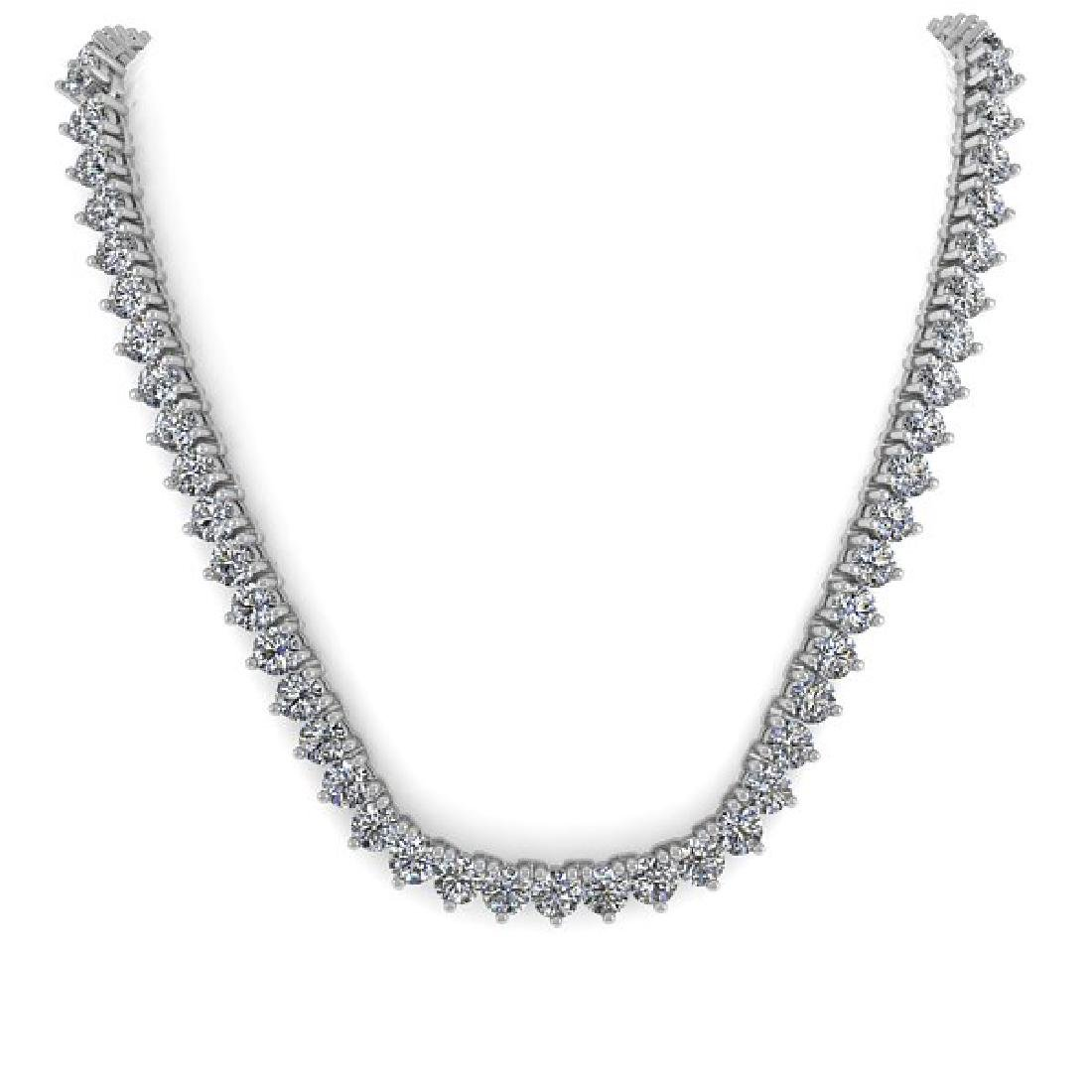 48 CTW Solitaire SI Diamond Necklace 18K White Gold - 2