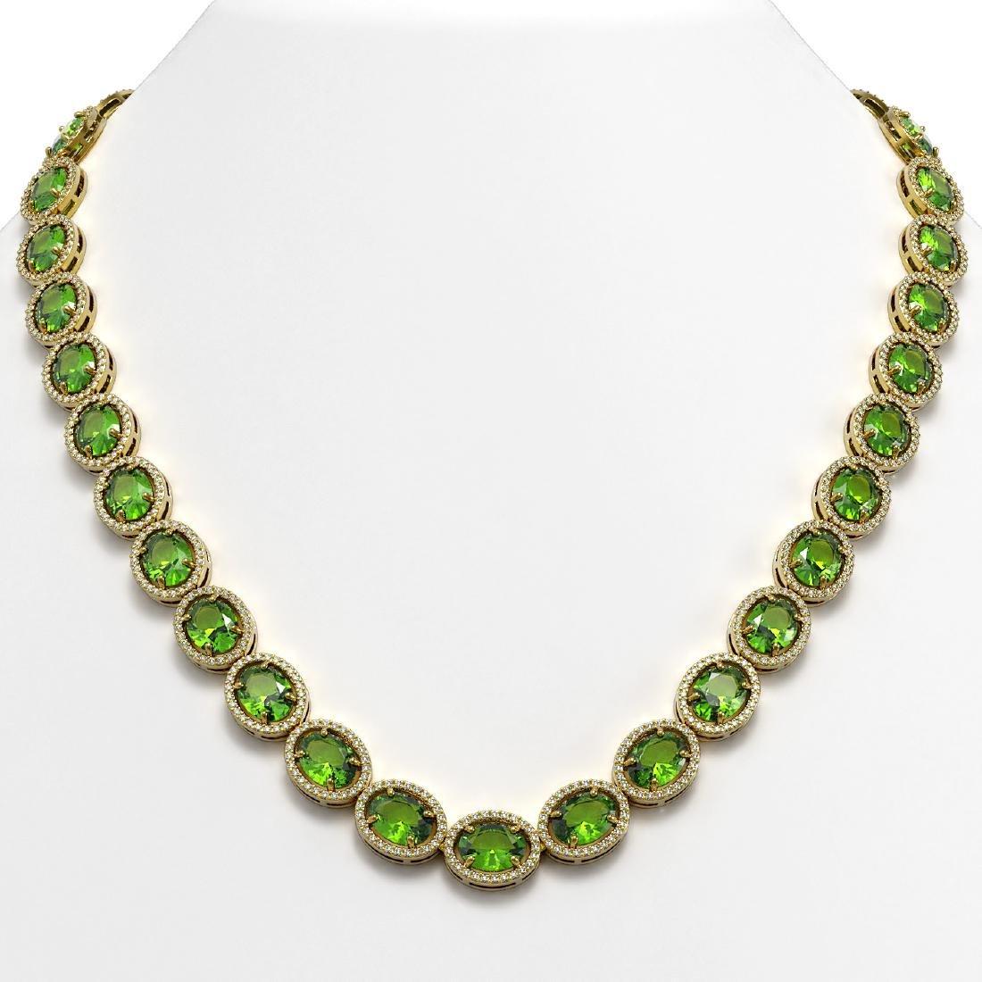 64.84 CTW Peridot & Diamond Halo Necklace 10K Yellow