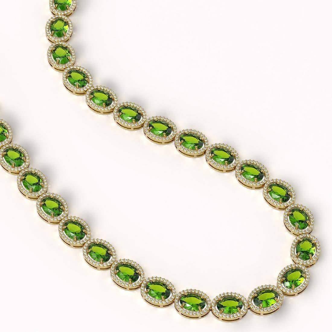 64.84 CTW Peridot & Diamond Halo Necklace 10K Yellow - 2