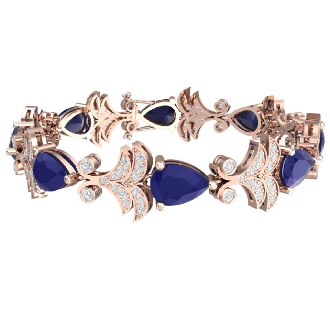 24.8 CTW Royalty Sapphire & VS Diamond Bracelet 18K - 3