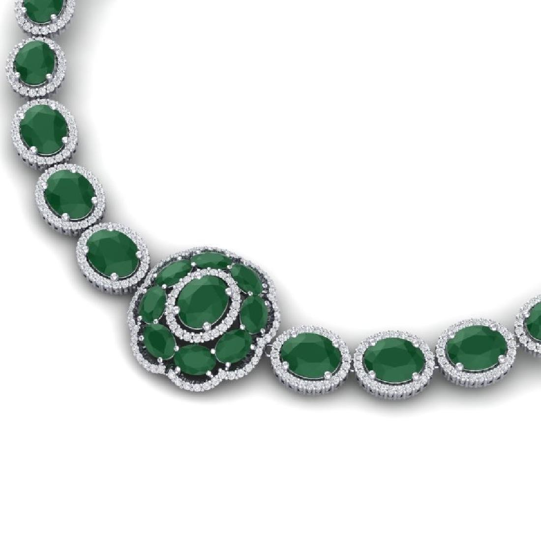 58.33 CTW Royalty Emerald & VS Diamond Necklace 18K