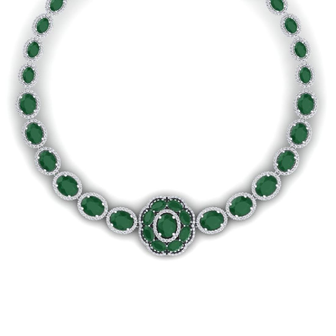 58.33 CTW Royalty Emerald & VS Diamond Necklace 18K - 2