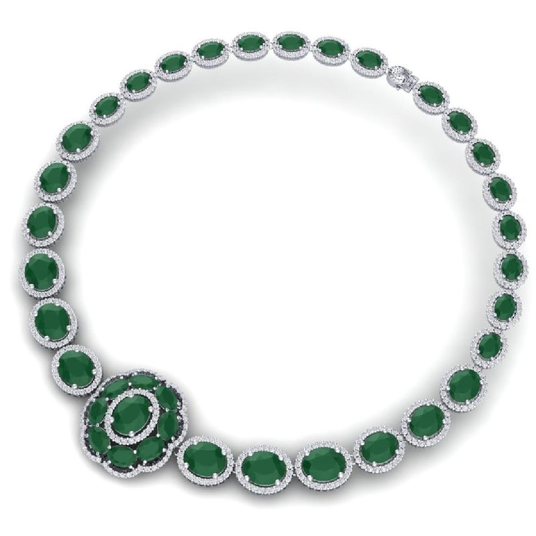 58.33 CTW Royalty Emerald & VS Diamond Necklace 18K - 3