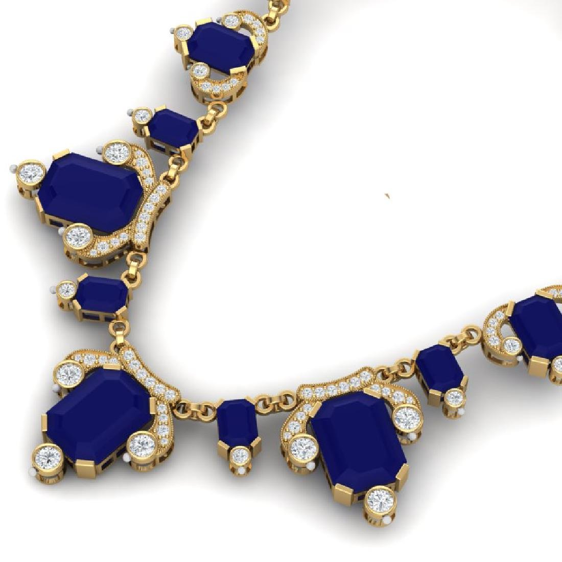 75.21 CTW Royalty Sapphire & VS Diamond Necklace 18K - 2