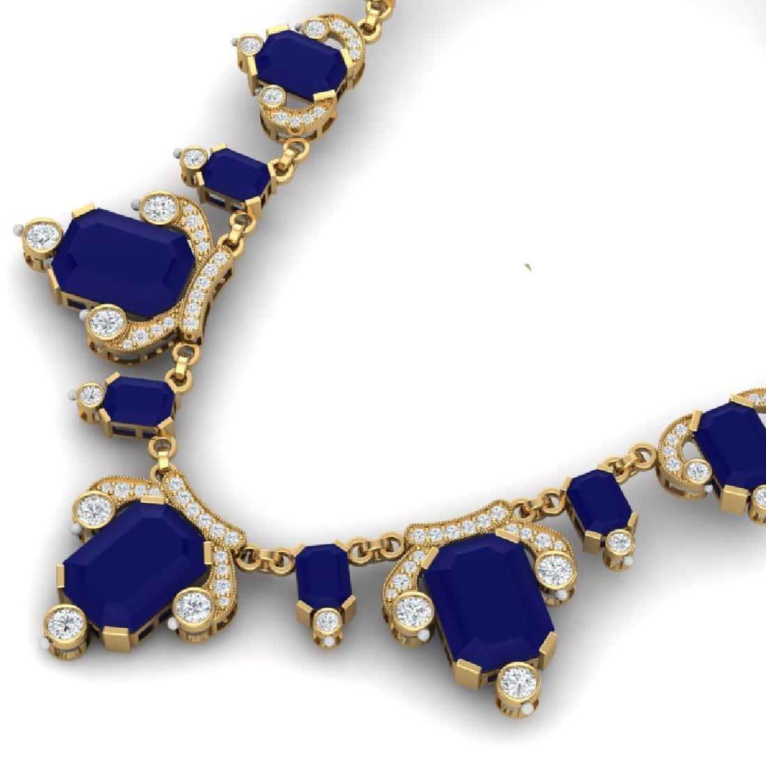 75.21 CTW Royalty Sapphire & VS Diamond Necklace 18K - 2