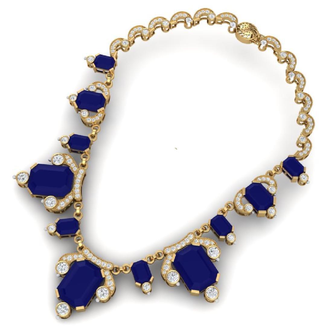 75.21 CTW Royalty Sapphire & VS Diamond Necklace 18K - 3