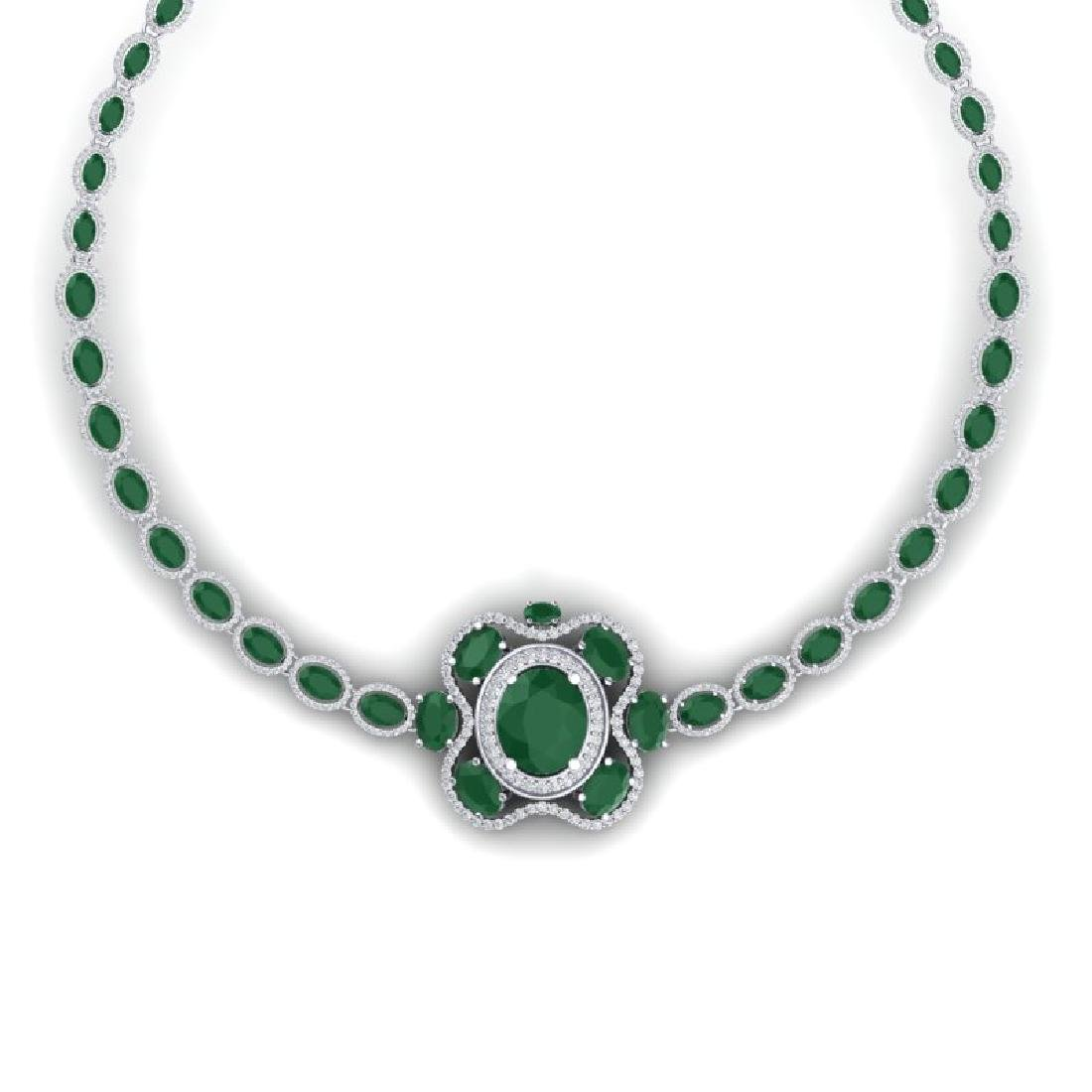 47.43 CTW Royalty Emerald & VS Diamond Necklace 18K - 2