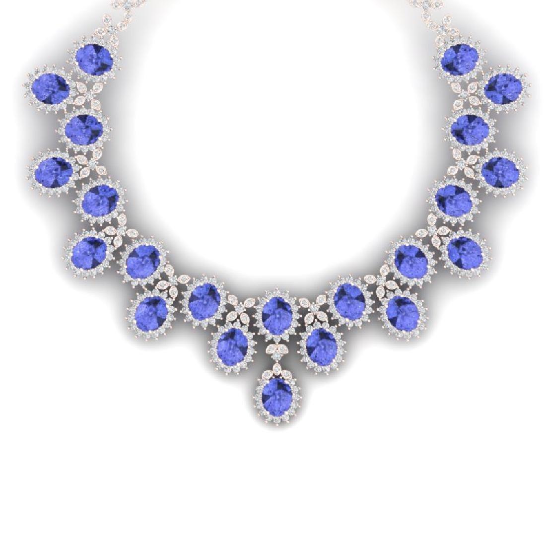 86 CTW Royalty Tanzanite & VS Diamond Necklace 18K Rose