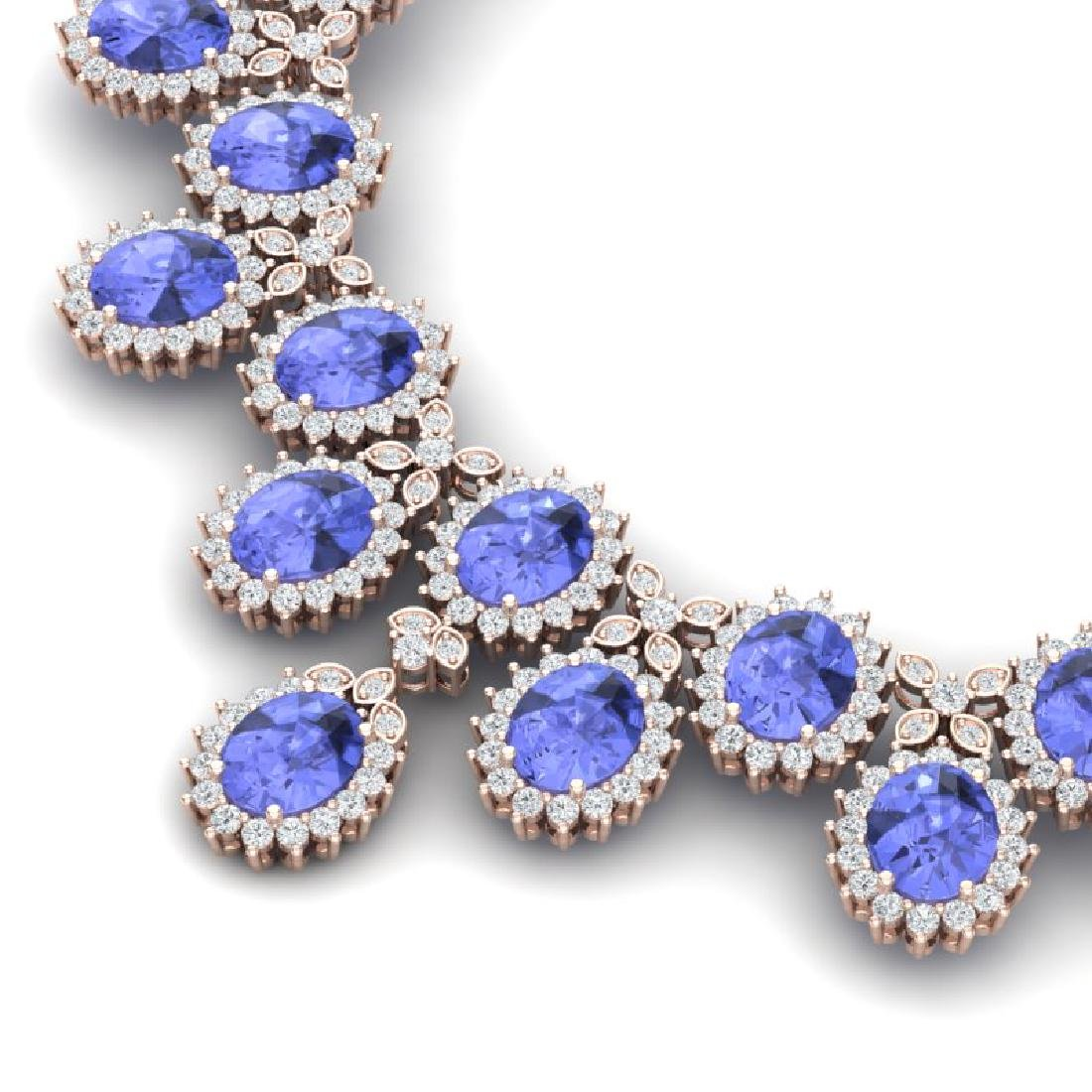 86 CTW Royalty Tanzanite & VS Diamond Necklace 18K Rose - 2