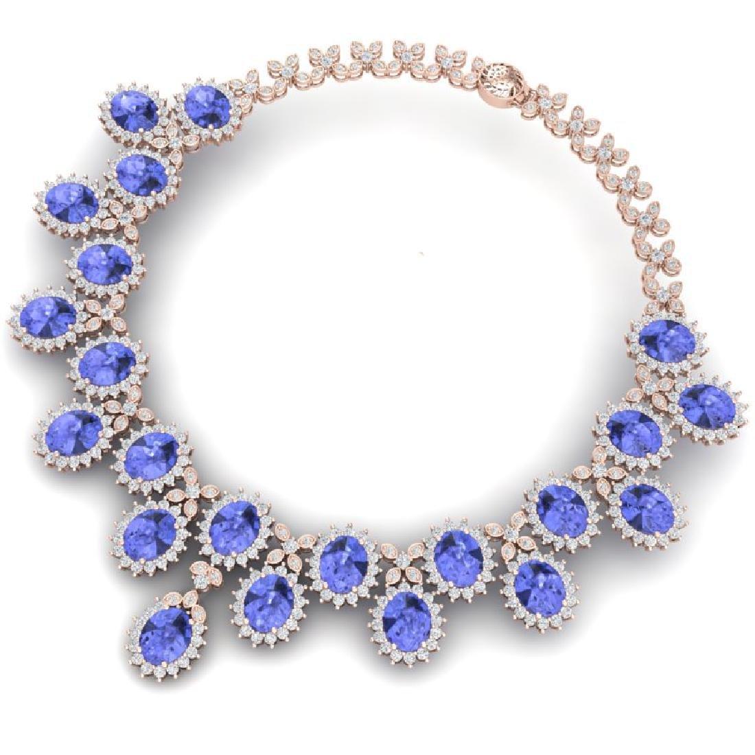 86 CTW Royalty Tanzanite & VS Diamond Necklace 18K Rose - 3