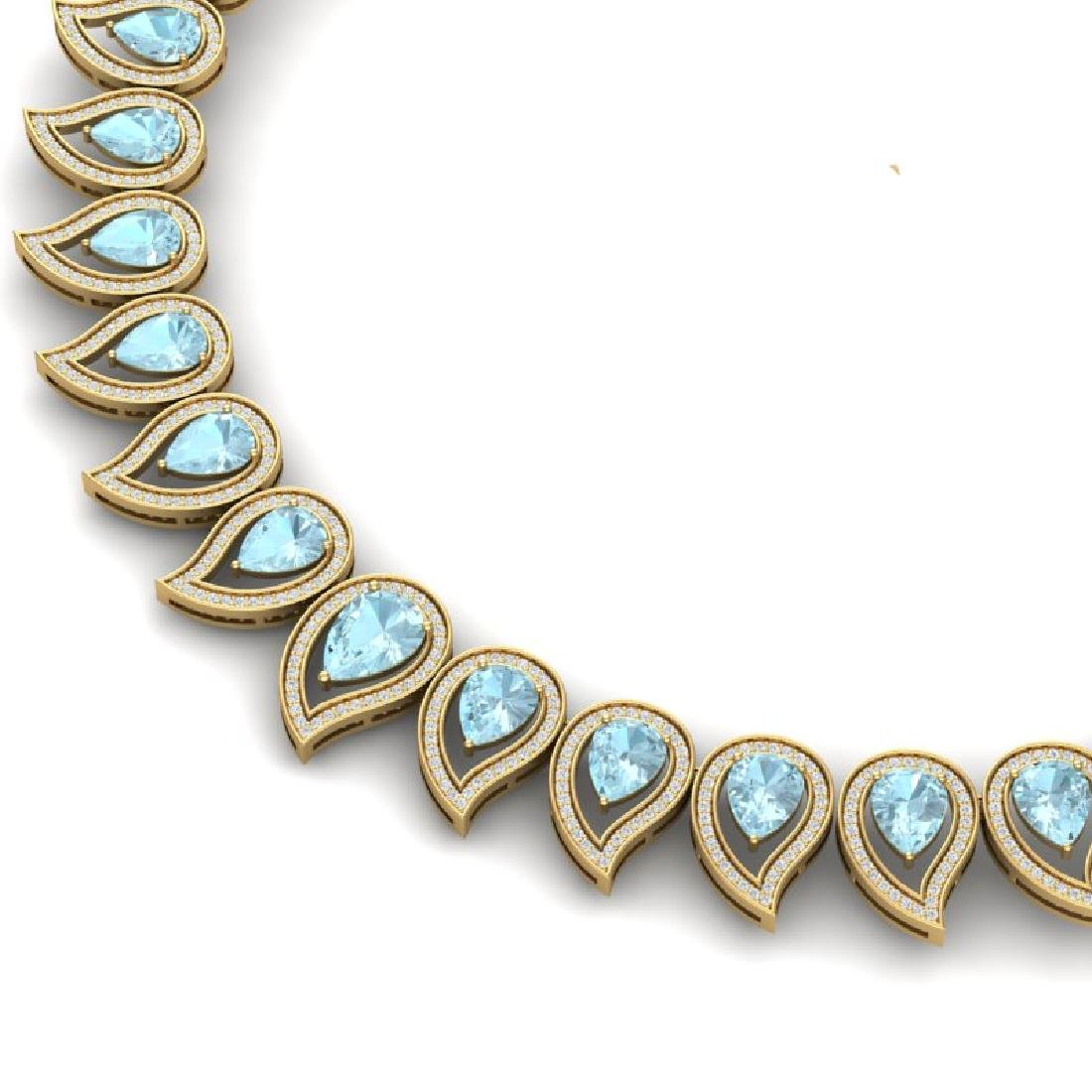 34.96 CTW Royalty Sky Topaz & VS Diamond Necklace 18K - 2