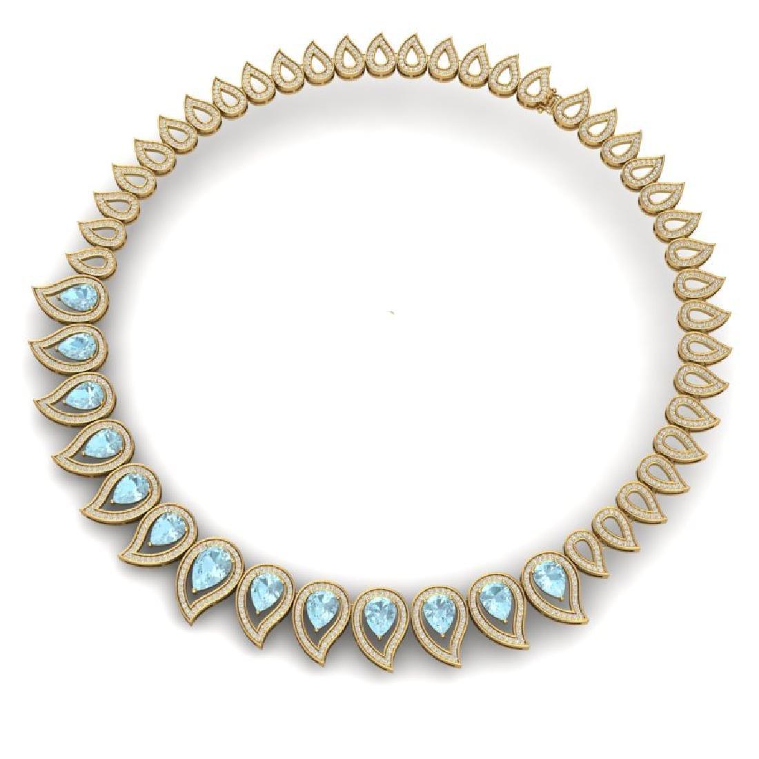 34.96 CTW Royalty Sky Topaz & VS Diamond Necklace 18K - 3