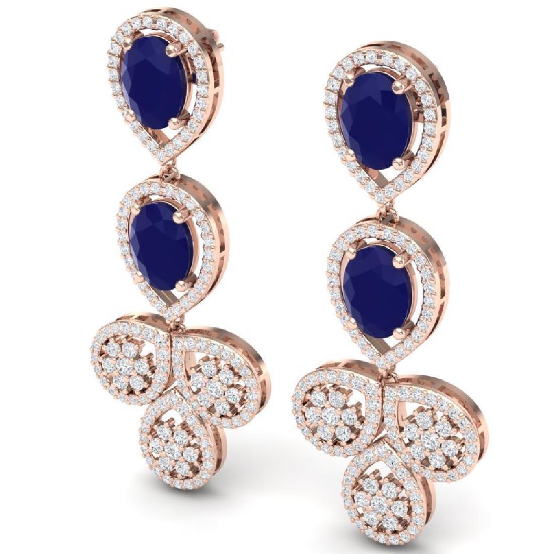 9.75 CTW Royalty Sapphire & VS Diamond Earrings 18K - 2