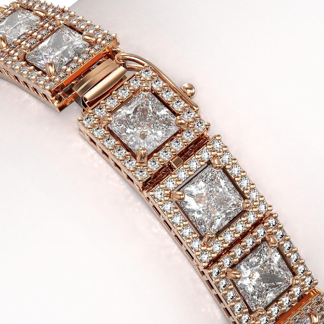 18.24 CTW Princess Diamond Designer Bracelet 18K Rose - 3