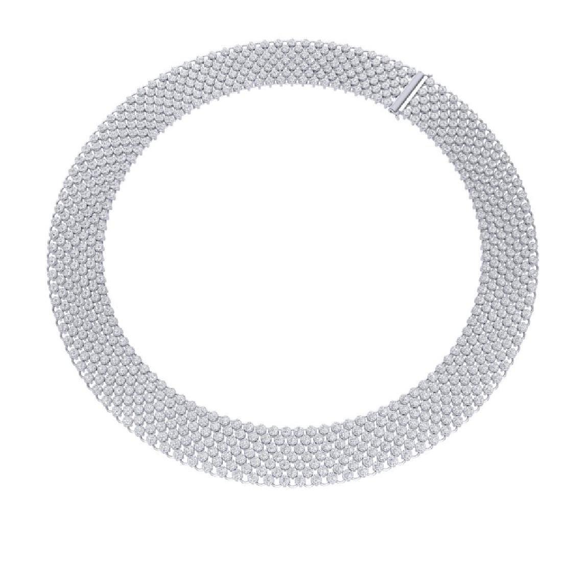 35 CTW Certified VS/SI Diamond Necklace 18K White Gold - 2