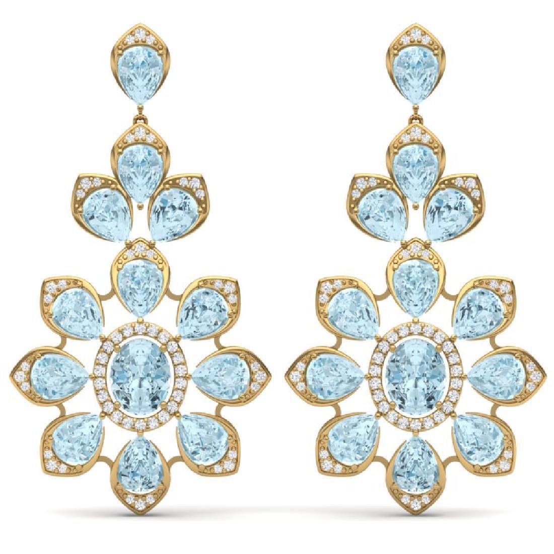 53.34 CTW Royalty Sky Topaz & VS Diamond Earrings 18K