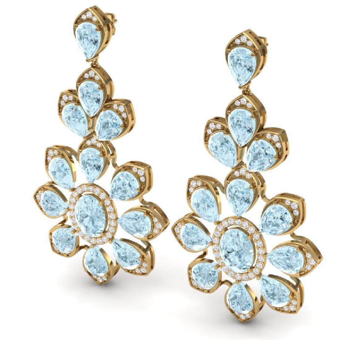 53.34 CTW Royalty Sky Topaz & VS Diamond Earrings 18K - 2