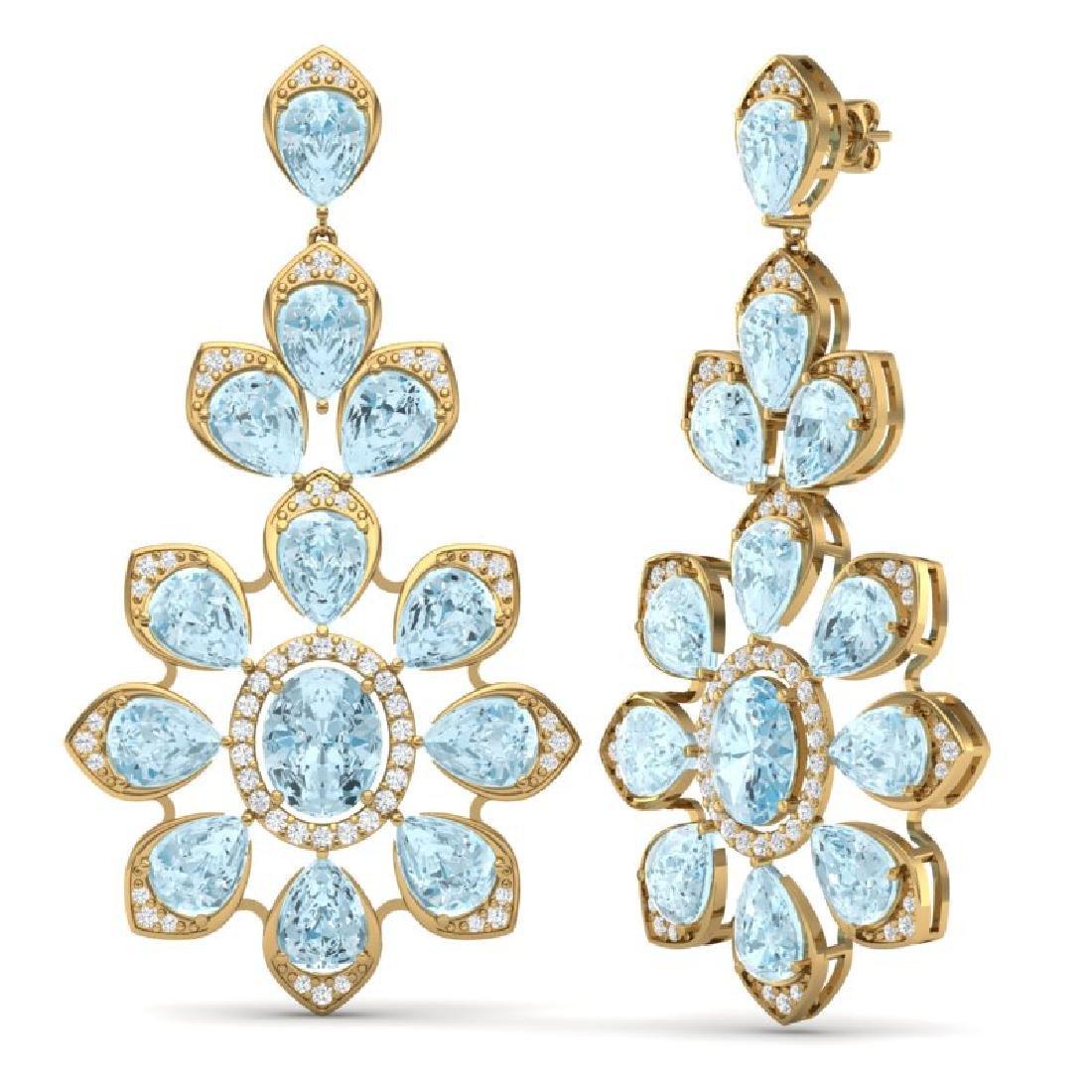 53.34 CTW Royalty Sky Topaz & VS Diamond Earrings 18K - 3