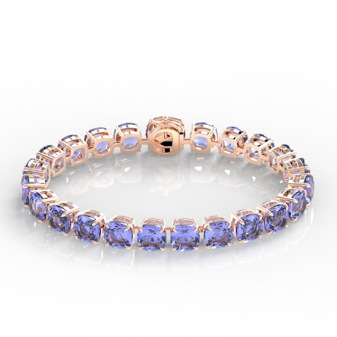 40 CTW Tanzanite & Pave VS/SI Diamond Bracelet 14K Rose - 2