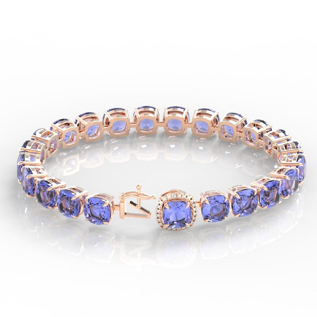 40 CTW Tanzanite & Pave VS/SI Diamond Bracelet 14K Rose - 3