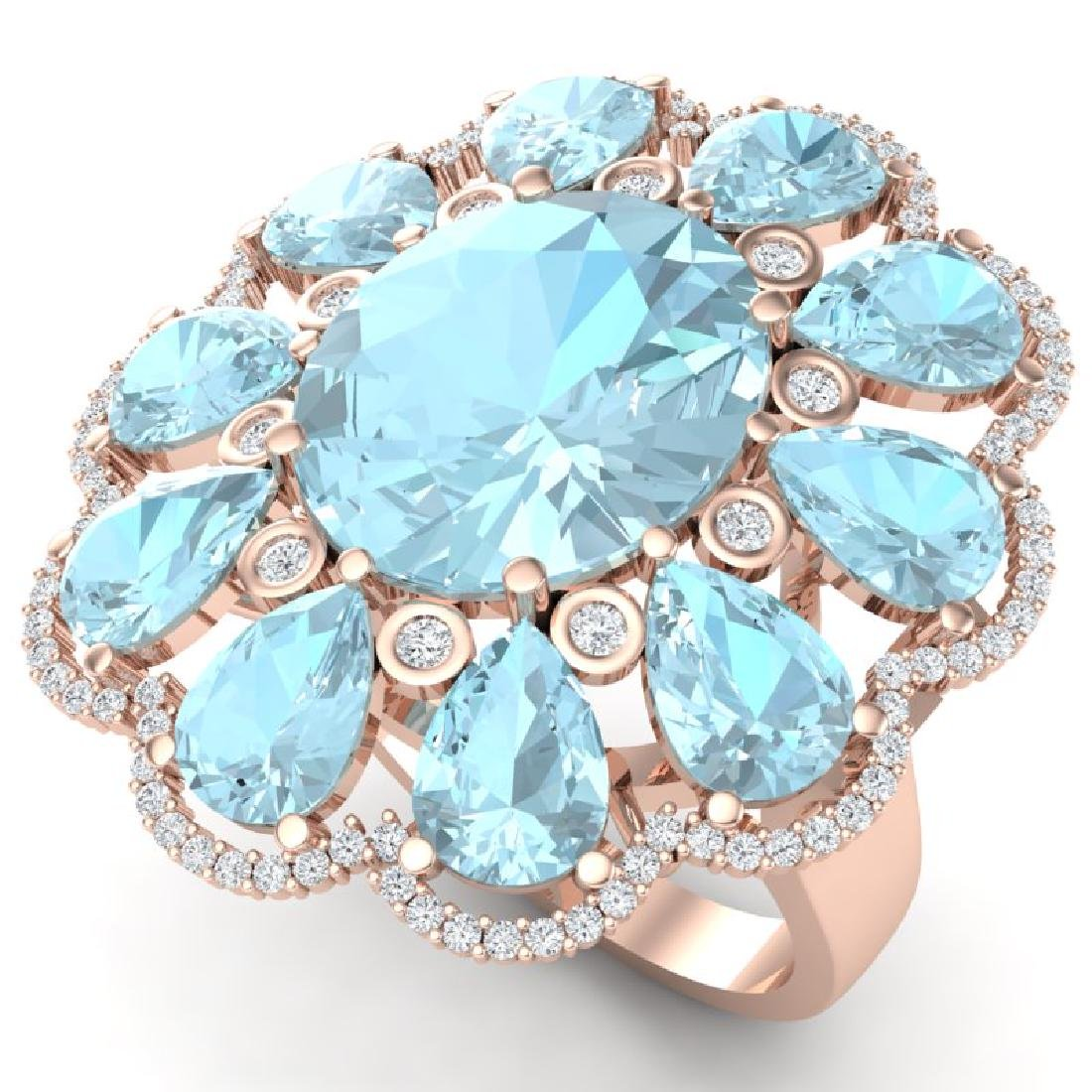 20.54 CTW Royalty Sky Topaz & VS Diamond Ring 18K Rose