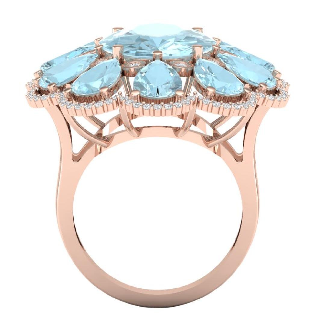 20.54 CTW Royalty Sky Topaz & VS Diamond Ring 18K Rose - 3
