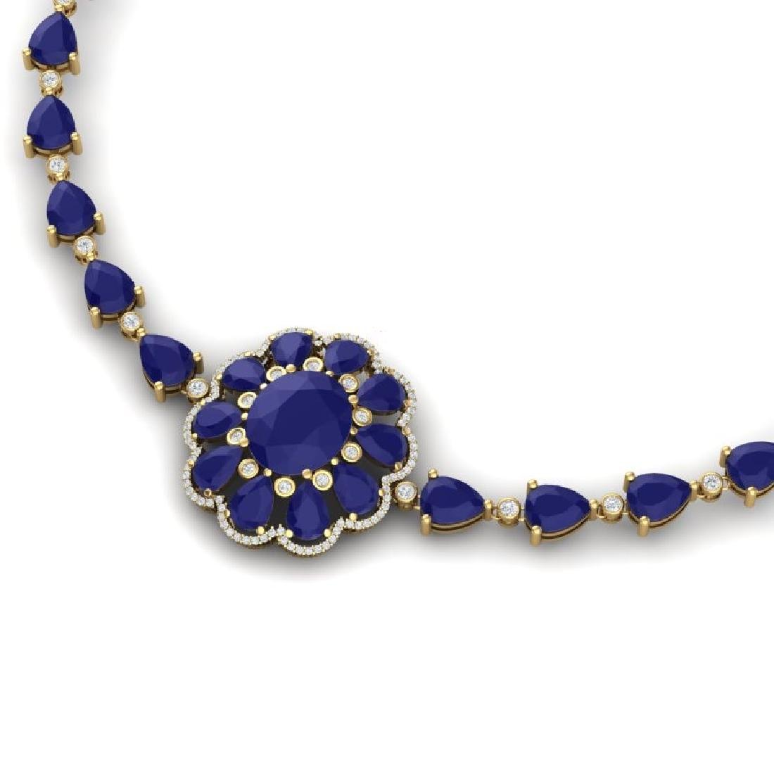 78.98 CTW Royalty Sapphire & VS Diamond Necklace 18K