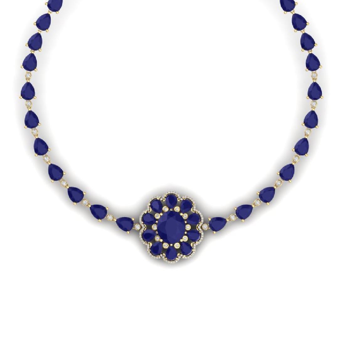 78.98 CTW Royalty Sapphire & VS Diamond Necklace 18K - 2