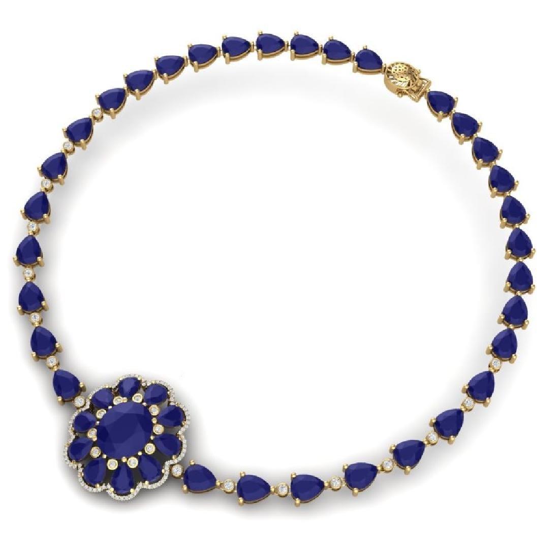78.98 CTW Royalty Sapphire & VS Diamond Necklace 18K - 3