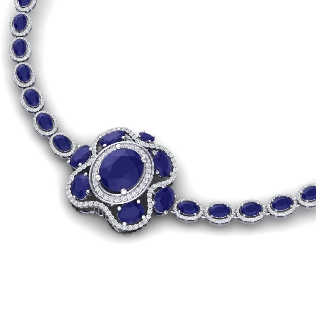 47.43 CTW Royalty Sapphire & VS Diamond Necklace 18K