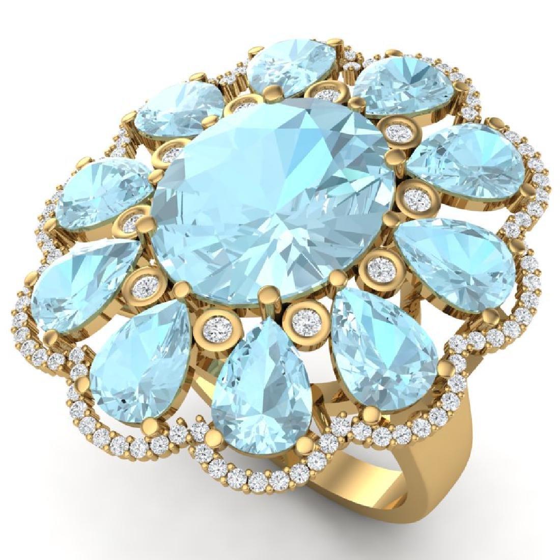 20.54 CTW Royalty Sky Topaz & VS Diamond Ring 18K