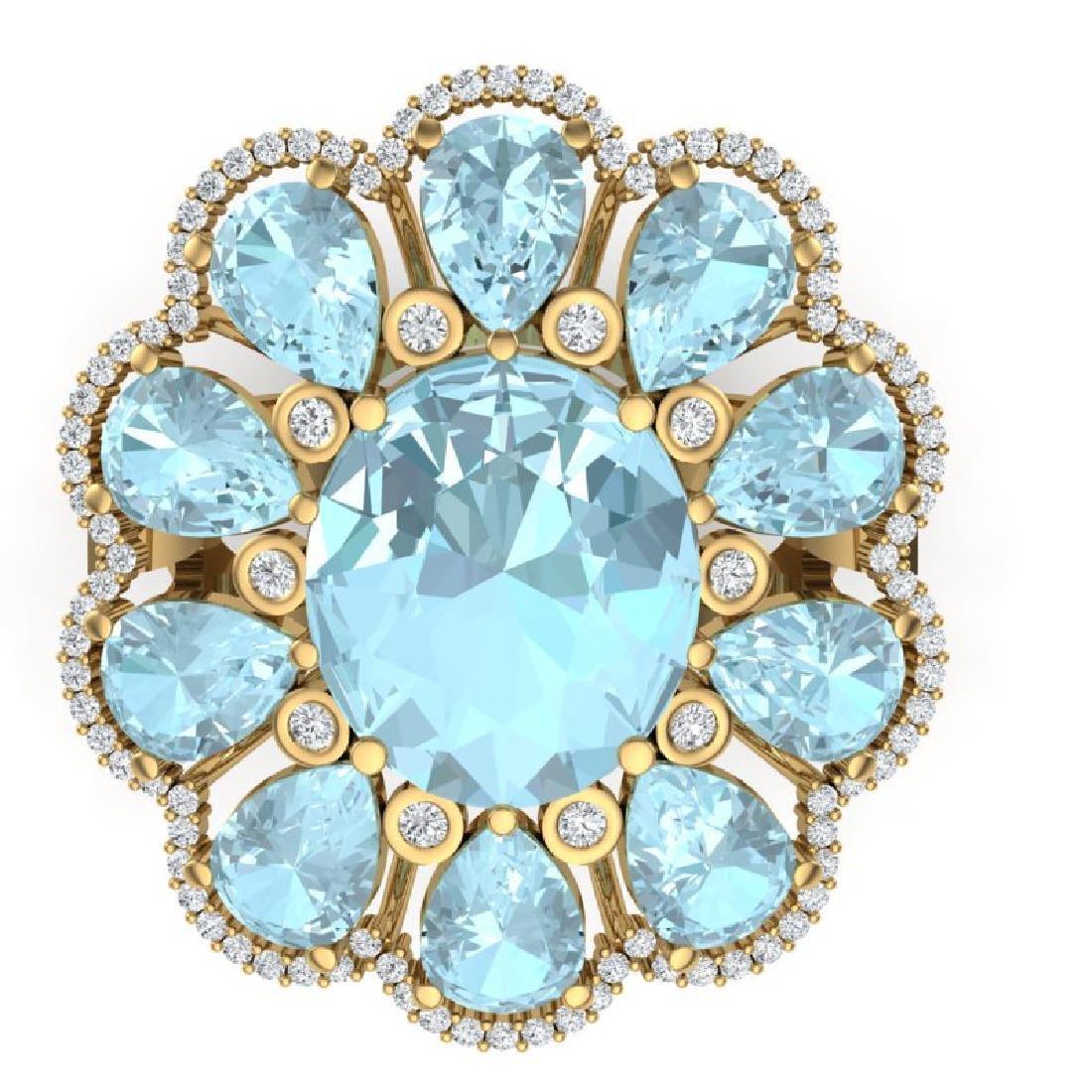 20.54 CTW Royalty Sky Topaz & VS Diamond Ring 18K - 2