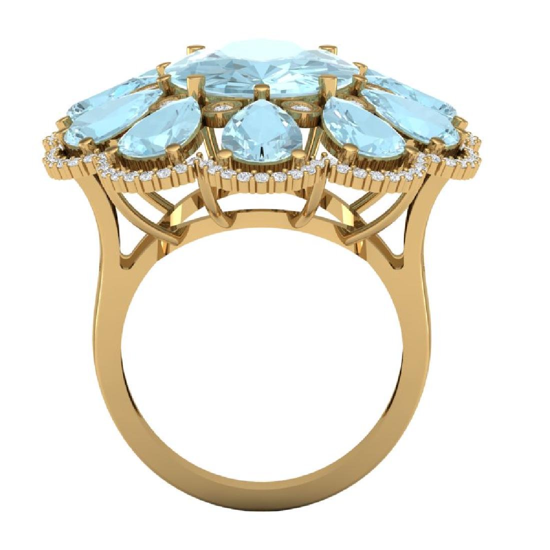 20.54 CTW Royalty Sky Topaz & VS Diamond Ring 18K - 3
