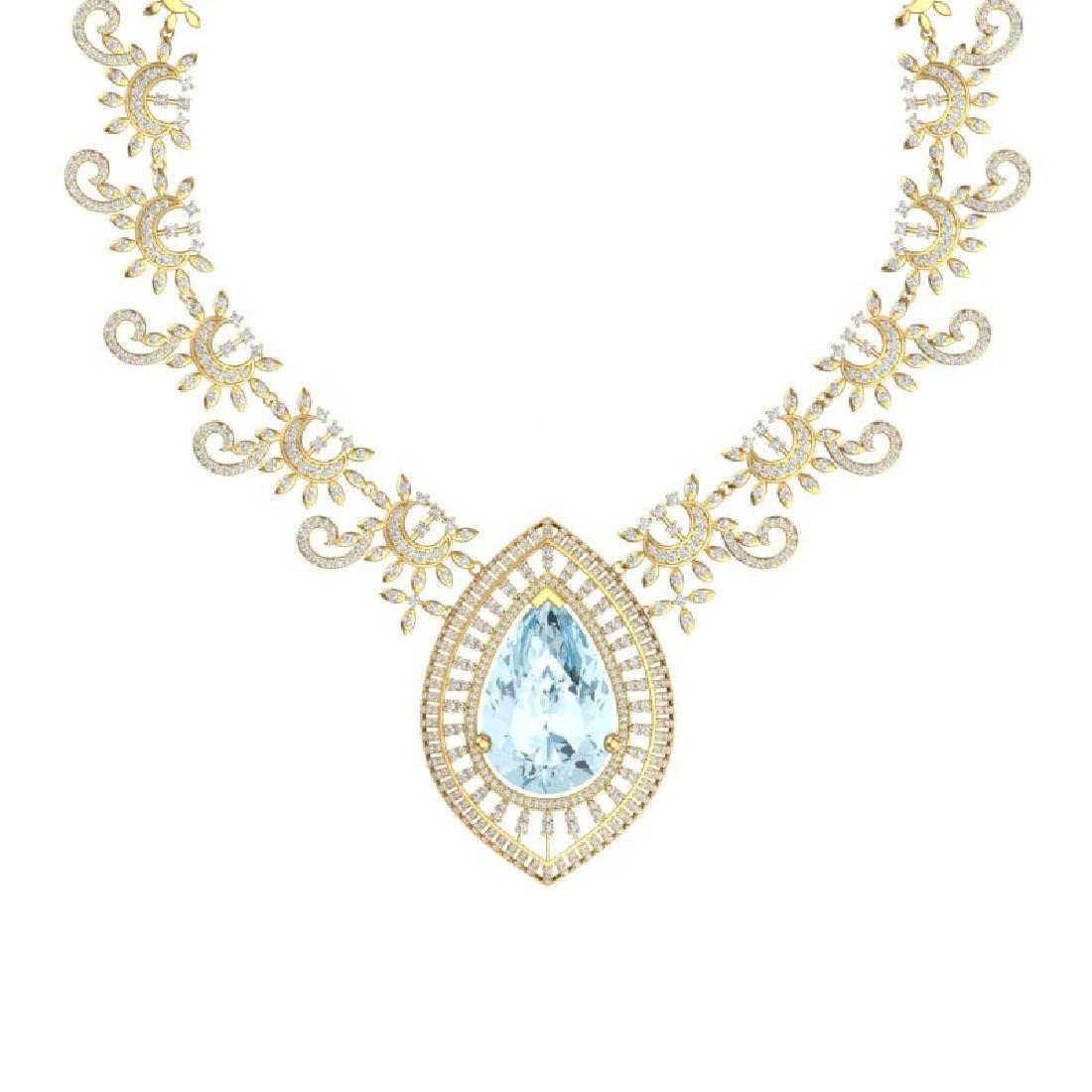 68.1 CTW Royalty Sky Topaz & VS Diamond Necklace 18K - 2
