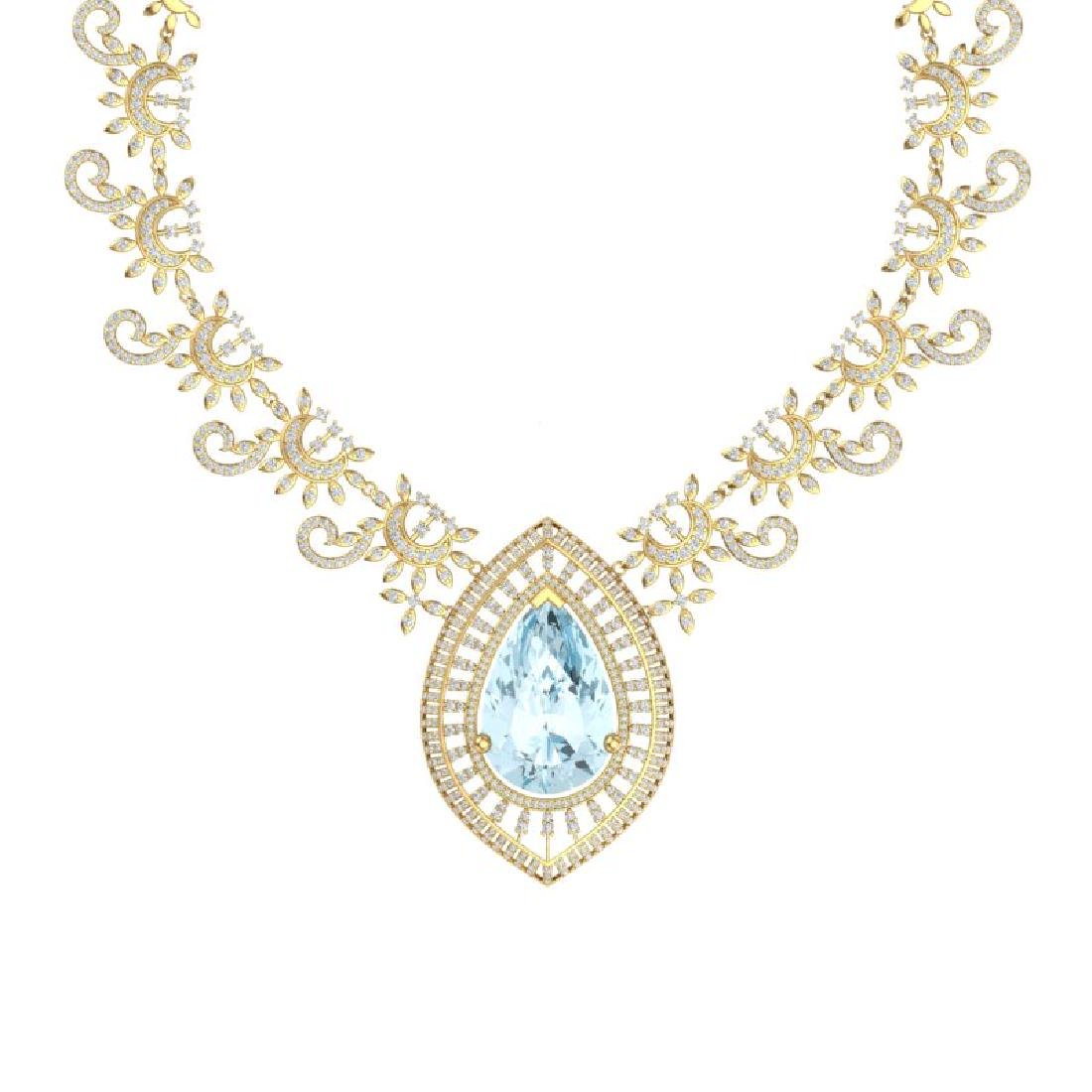 68.1 CTW Royalty Sky Topaz & VS Diamond Necklace 18K - 2