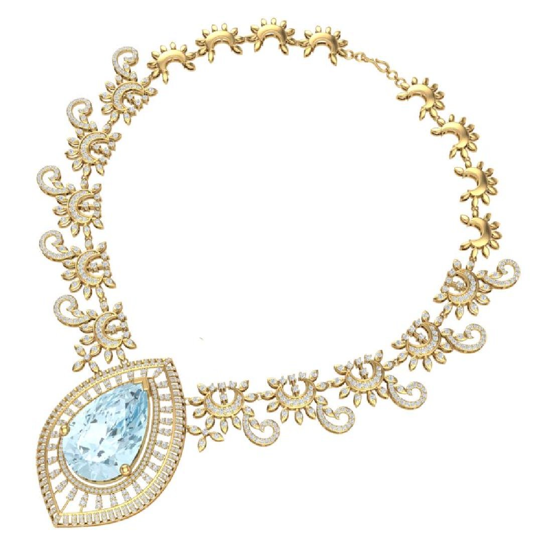 68.1 CTW Royalty Sky Topaz & VS Diamond Necklace 18K - 3