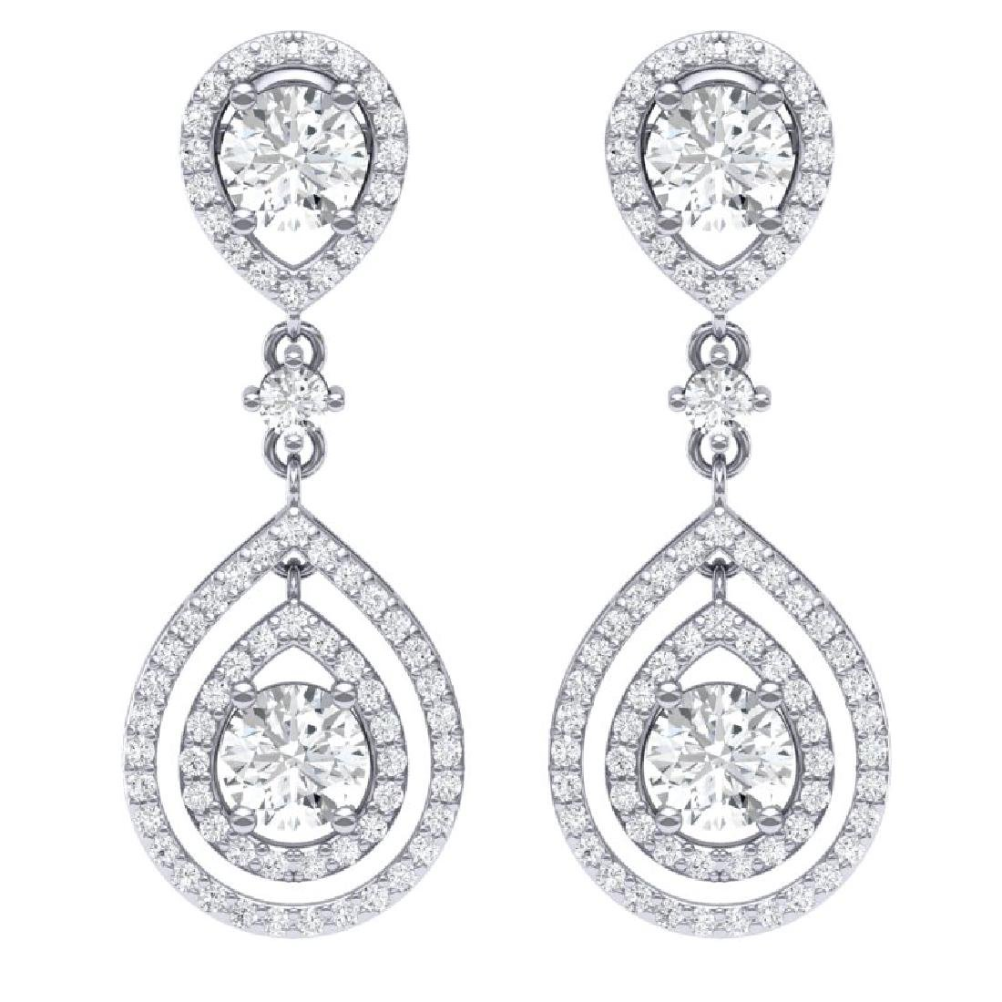 3.53 CTW Royalty Designer VS/SI Diamond Earrings 18K